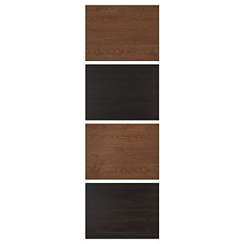MEHAMN fyra paneler för skjutdörr 75 x 236 cm svartbrunmålad askeffekt/brunfärgad askeffekt