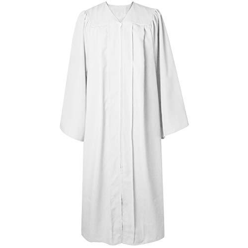 GraduatePro Choir Robe Adult Clergy Baptism Church Pastor Pulpit Robes Preachers Confirmation Robe Unisex Purity White 51 Plus
