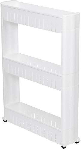 Trading Innovation 3 Tier Space Saving Storage Organizer Rack Shelf with Wheels | Multipurpose Utility Cart Rolling Tower Tray | Multifunction Stand Trolley for Kitchen Bathroom & Bedroom (White)