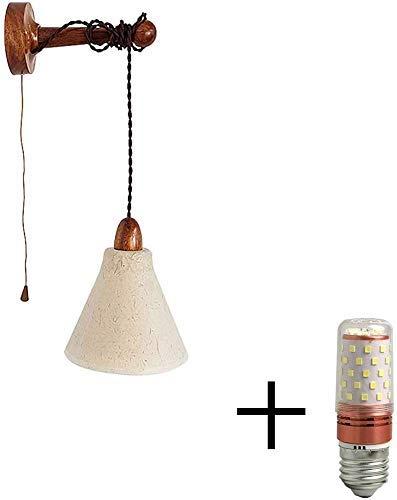 Rustikale Holz Wandleuchte mit Zugschalter Wandmontage Nachttischlampe mit 1,0m Kabel Verstellbare, Hängende Papier Lampenschirm E27 Wandlampe für Schlafzimmer Loft Flur(Enthält 12W LED),Deepcolor
