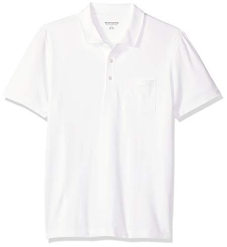 Amazon Essentials Herren-Poloshirt, schmale Passform, mit Brusttasche, aus Jersey, White, US L (EU L)