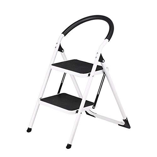 Qazxsw Leiter Tritthocker 2-Stufen-Leiter, tragbare Faltbare Trittleiter aus Stahl mit Rutschfester großer Stufenmatte für klappbaren Tritthocker im Home Office