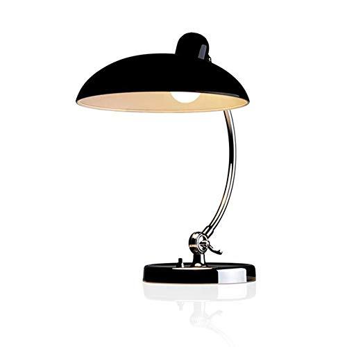Tischlampe Vintage E27 Verstellbar Metall Schreibtischlampe Leselampe Bauhaus-Stil Tischleuchte mit Druckknopfschalter Nachttischlampe für Schlafzimmer Wohnzimmer Arbeitszimmer Büro,Schwarz