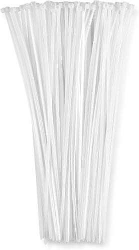 12 Inch Zip Ties White (100 Pack), 40lb Strength, Nylon Cable Wire Ties, By Bolt Dropper.