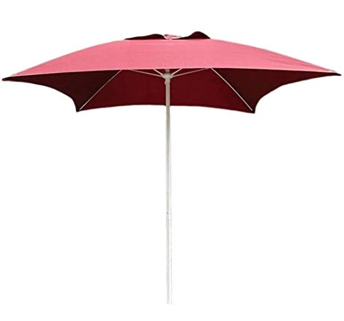 Sombrilla Parasol con Ángulo Ajustable Sombrillas patio cuadrado de jardín del patio Tabla paraguas, ideal tanto for exterior Yard, Playa Evento Mercado Comercial, Piscina lateral, vino tinto, 2m
