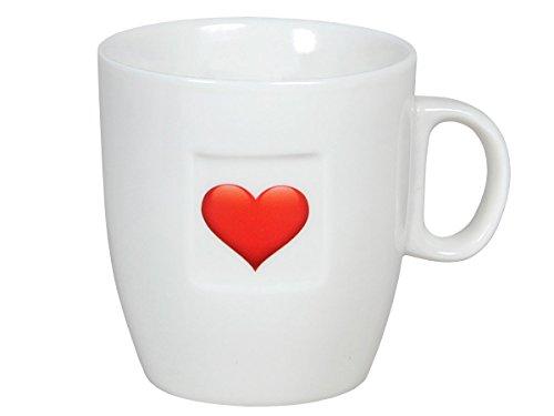 Kaffeetasse mit Rose Herz in weiß Geschenkidee Kaffeebecher Tasse 8 x 7,5 cm von Alsino, Variante wählen:101769-3