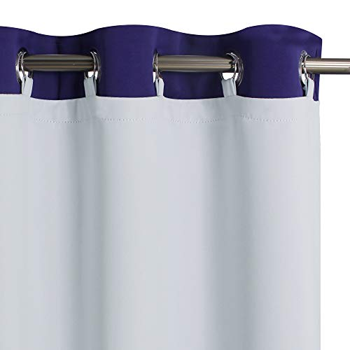 """KGORGE Blackout Curtain Liners - Sun Light / Heat Blocking Liner Drapes, Blackout Lined for L 84"""" Drapes Hang with Rings / Tab (1 Pair, 50"""" Wide by 80"""" Length, Grayish White, Free Rings Included)"""