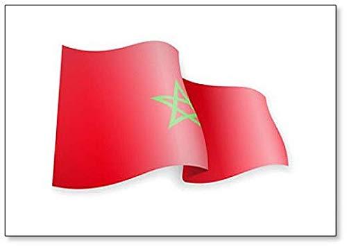 Kühlschrankmagnet Marokko Flagge im Wind Illustration