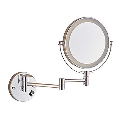 LED Mirroir De Maquillage Mural Double Face, 3 Fois Grossissement Miroir Cosmétique 360° Pivotant Extensible pour Rasage, Maquillage
