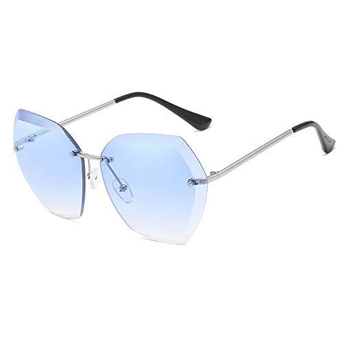 WHSS Gafas de Sol Gafas de Sol de Playa Gafas de Sol Ocean Piece Gafas de Sol sin Marco Mujeres Retro Visera de Metal - Azul