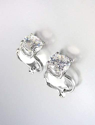 Exquisite 18kt White Gold Plated 2.00 CT 8mm CZ Crystal Solitaire Clip Earrings Fashion Jewelry for Women Man