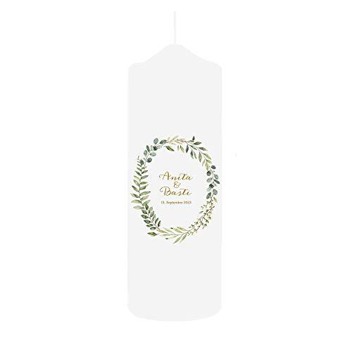 Weddix Boho Hochzeitskerze mit Namen und Datum, 23 cm groß mit Eukalyptus Scandi Motiv - Traukerze zur Hochzeit, individueller Spruch