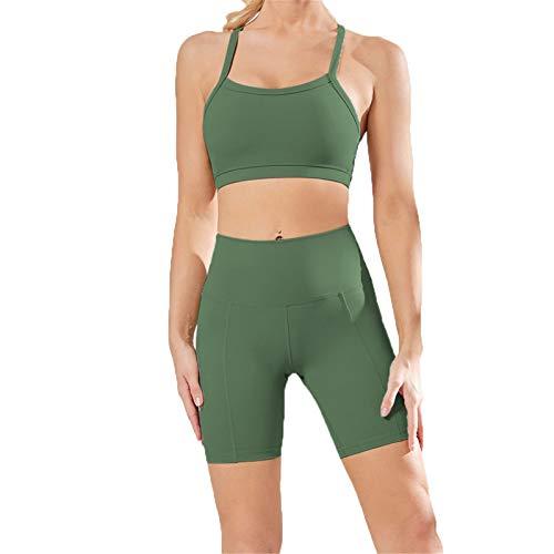 Conjunto de Chándal Mujer Traje de 2 Piezas, Juego de entrenamiento de mujeres 2 pieza alta cintura desnuda sensación desnuda yoga pantalones cortos leggings espagueti correa deportes sujetador top ro