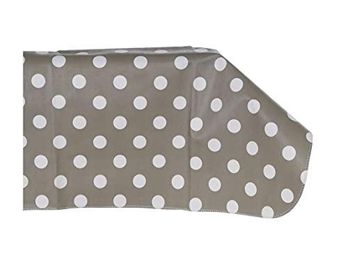 NAUTICALMANIA Mantel PVC Hule Plastificado 175x240 Gris con Lunares Blancos. Anti-Manchas Fácil Limpieza y desinfección con un Trapo húmedo