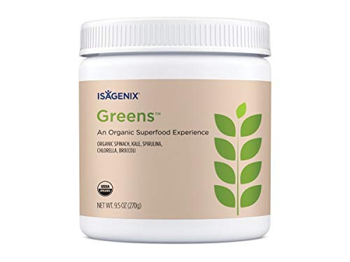 Isagenix Organic Greens, Organic Superfood Drink Mix of Phytonutrient Drink Mix with Ginkgo Biloba, Milk Thistle Seed, Dandelion Root and More to Support Diet - 270 Grams (30 Servings)