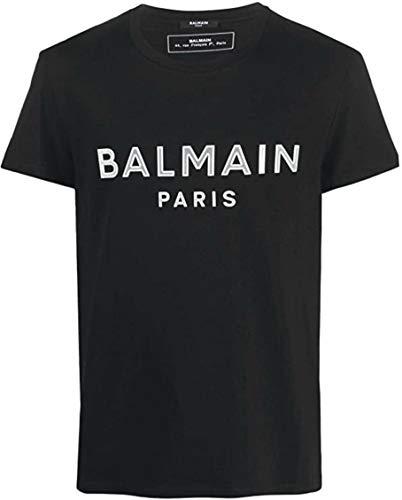 Balmain SS 2020 Luxus-T-Shirt für Herren, Schwarz, mit weißem Logo, Schwarz Medium