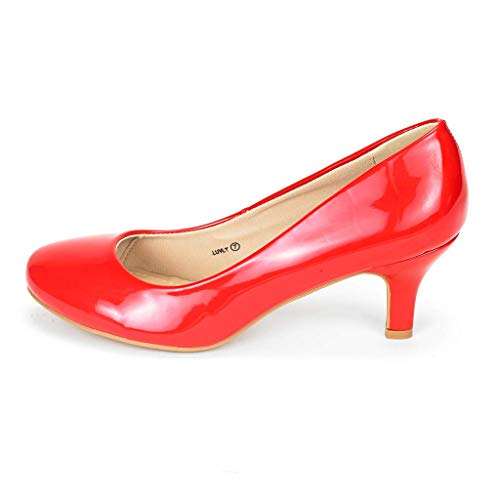 DREAM PAIRS Women's Luvly Red Pat Bridal Wedding Low Heel Pump Shoes - 6.5 M US