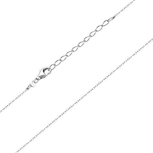 Materia K109 - Collana da bambina in argento 925, 1 mm, rodiato, 36-40 cm, regolabile