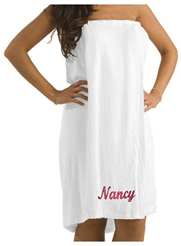 BY LORA Personalized Custom Spa Shower Wrap Towels for Ladies, One Size, White