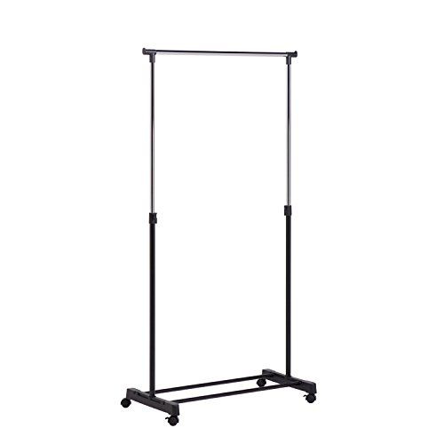 Honey-Can-Do Adjustable Height Rolling Metal Clothes Rack Chrome 30 lbs