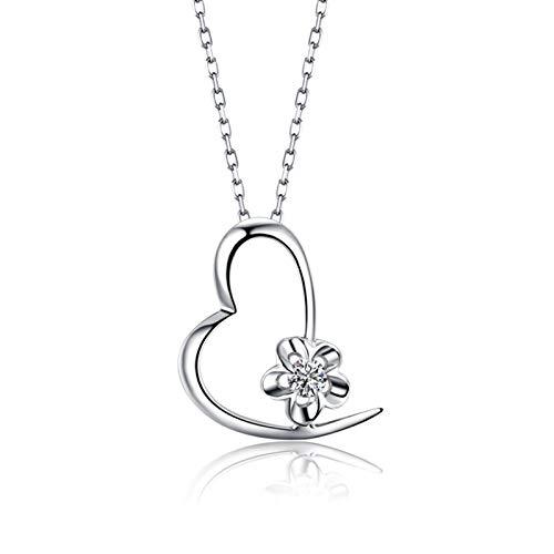 Aartoil Collar con colgante de oro blanco de 18 quilates con forma de corazón y flor con diamante de 0,03 quilates