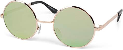 styleBREAKER Gafas de sol lentes redondas y planas y montura metálica de acero inoxidable, unisex 09020064, color:Marco dorado/vidrio amarillo espejado