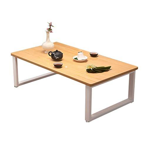 Stolik kawowy, niski stół z litego drewna/stół Kang, stalowa rama + blat z litego drewna Stolik do herbaty w stylu japońskim (rozmiar: 60X40X40CM)