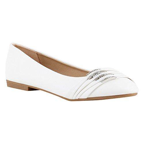 stiefelparadies Klassische Damen Strass Ballerinas Elegante Slipper Übergrößen Metallic Glitzer Flats Schuhe 116547 Weiss 36 Flandell