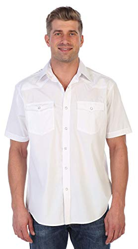 Gioberti Mens Casual Western Solid Short Sleeve Shirt with Pearl Snaps, White, Large