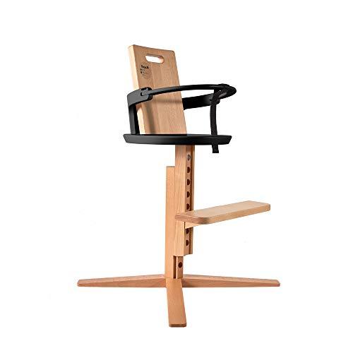 FROC Silla alta de madera para bebés, niños pequeños y niños   Crece con su hijo   Reposapiés ajustable/piernas/respaldo   Diseño moderno   Madera natural (negro)