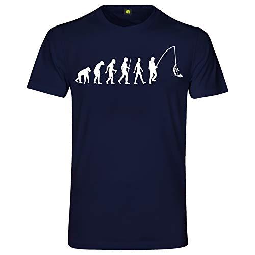 Evolution Angeln T-Shirt | Angler | Angel | Fischen | Fisch | Hecht | Zander Navy Blau 2XL