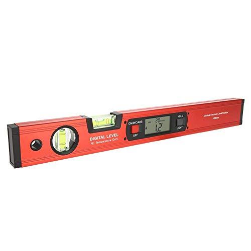 Multifunktionale Digitale Wasserwaage, 360 ° Winkel Digitaler Neigungsmesser mit LCD-Display Digitaler Winkelfinderpegel und Magnetfuß 2 Blasen 400 mm