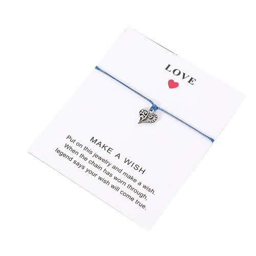 Sperrins Bracelet Braided Rope Bracelet Adjustable Heart Shaped Bracelet with Wish Cards Friendship Handmade Bracelet for Women Men Kids