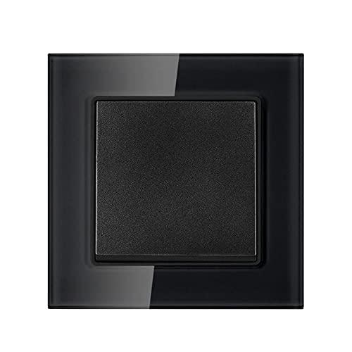 Interruptor de luz 1gang 1way 16a 250V Panel de vidrio templado de cristal blanco 82mm * interruptor de pared 82mm-negro_110-250v