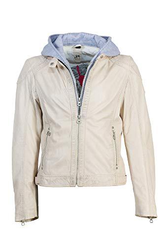 Gipsy Damen Lederjacke aus feinstem Lammnappa Leder pflanzlich gegerbt mit Abnehmbarer Kapuze (XL, Off White)