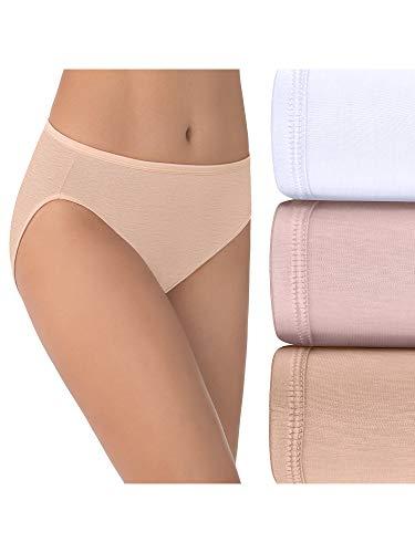 Vanity Fair Women s Illumination Hi Cut Panties (Regular & Plus Size), 3 Pack-White Quartz Beige, 9