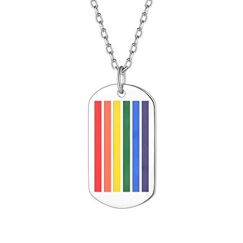 PROSTEEL LGBT Gay Pride Jewelry Equality Rainbow Dog Tag Dogtag Pendant Gift Men Women Lesbian Pride 925 Sterling Silver Necklace