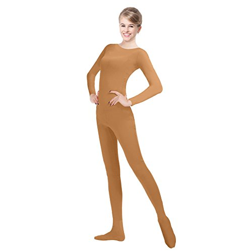 QY Unisex Lycra Spandex Unitard Round Neck Long Sleeves Full Foot Elastane Bodysuit Costume (L, Brown)