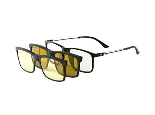 Eagle Eyes 3in1 Magnetic Polarized Sunglasses/Night Driving Clip-on With Computer Lens Base Frame - (Black/Clear)
