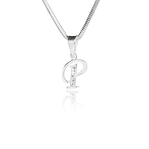 LillyMarie Eine Silberkette und Silberanhänger Buchstabe P mit klaren Steinen aus der Swarovski® Elements Kollektion, mit Schmucketui, Frau oder Freundin