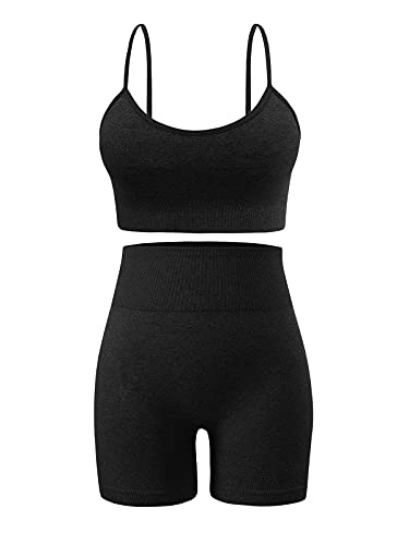 Women's Shorts Sets 2 Piece Outfits for Summer Seamless High Waisted Yoga Shorts with Adjustable Sports Bra Set Gym Clothes (A0010M-Black)