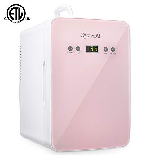 AstroAI Mini Fridge 6 Liter/8 Can Skincare Fridge - with Temperature Control - AC/12V DC Portable Thermoelectric Cooler and Warmer for Bedroom, Cosmetics, Medications, Breastmilk (Pink)