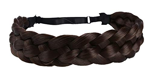 Coolcos Elastic Synthetic Chunky Hair Braid 5 Strands Braids Hair Headbands Plaited Braided Headband (4A Brown)