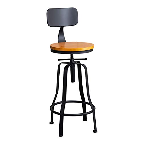 Taburete de Bar Giratorio Regulable taburetes de Barra Altos Cocina con Respaldo Ruedas Redondo Diseño Industrial Vintage Soporte de Hierro Forjado, Asiento de Madera Negro