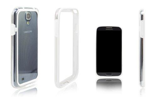 Xcessor Alta qualità Bumper Custodia Classic per Samsung Galaxy S4 i9500. Gomma e Plastica. Bianco/Trasparente