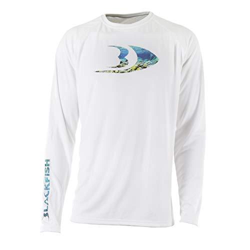 Blackfish Men's UPF Guide Splash Logo Long Sleeve Shirt (White, Large)