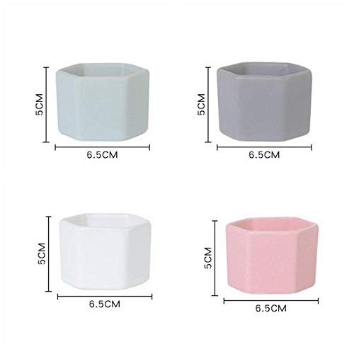 N/P Flower Pot Four-Piece Decorative Hexagonal Flower Pot Mini Ceramic Succulent Flower Pot Desktop Flower Pot Bonsai Bonsai