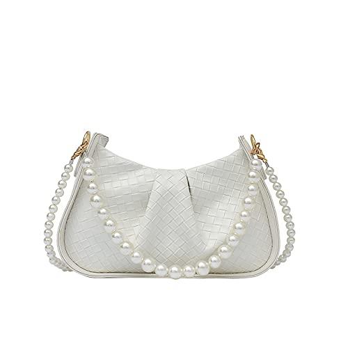 QIANJINGCQ moda simple personalidad cadena de perlas bolso de mensajero de un hombro temperamento pliegues debajo del brazo bolso tejido con patrón de perlas