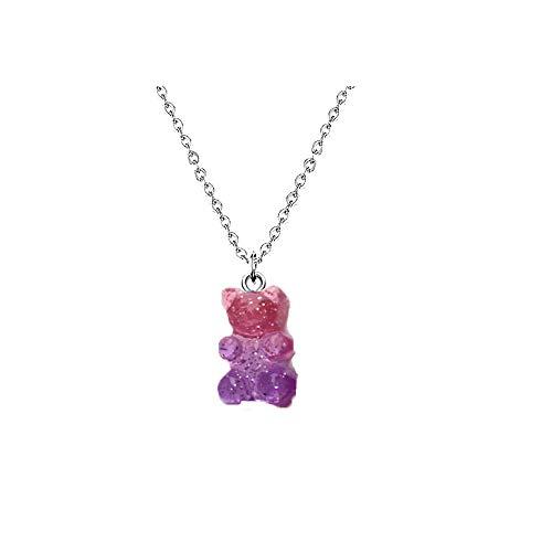 RUIZHEN Mix Multi-Color Resin Gummy Bear Pendant Necklace Stainless Steel Chain(Purple)