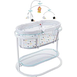 Fisher-Price Soothing Motions Bassinet, Soothe Baby to Sleep with Calming Sway Motion, Deluxe Overhead Mobile & Dual Mode Light Projection!, Multi